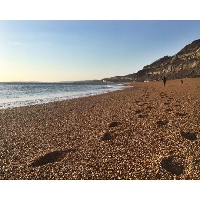 Footprints in pebbles